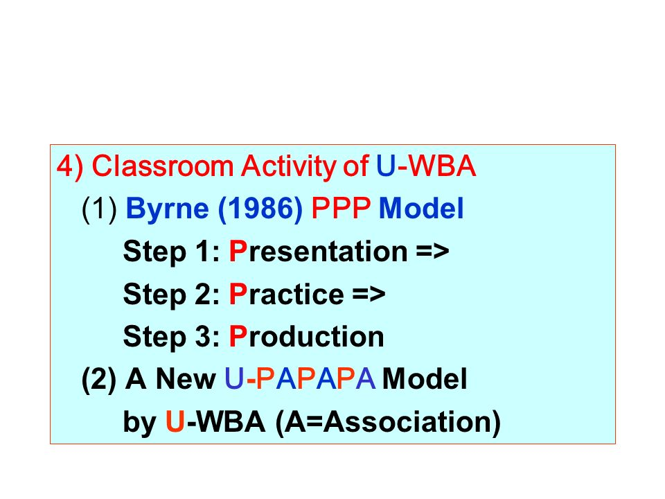 4) Classroom Activity of U-WBA (1) Byrne (1986) PPP Model Step 1: Presentation => Step 2: Practice => Step 3: Production (2) A New U-PAPAPA Model by U-WBA (A=Association)