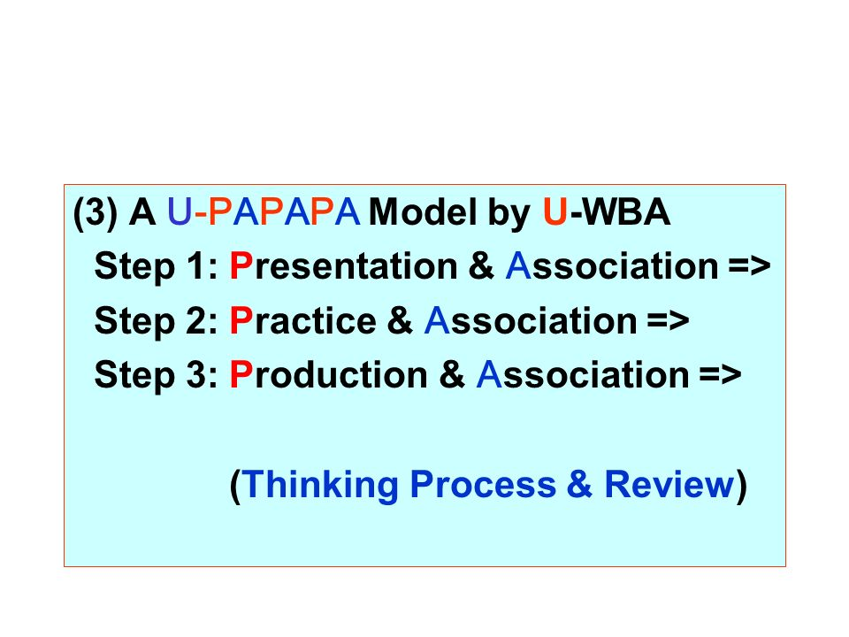(3) A U-PAPAPA Model by U-WBA Step 1: Presentation & Association => Step 2: Practice & Association => Step 3: Production & Association => (Thinking Process & Review)