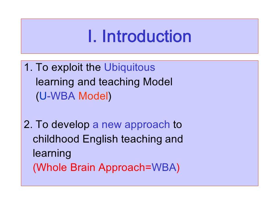 I. Introduction 1. To exploit the Ubiquitous learning and teaching Model (U-WBA Model) 2.