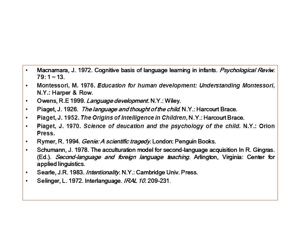 Macnamara, J. 1972. Cognitive basis of language learning in infants. Psychological Reviw. 79: 1 13. Montessori, M. 1976. Education for human developme