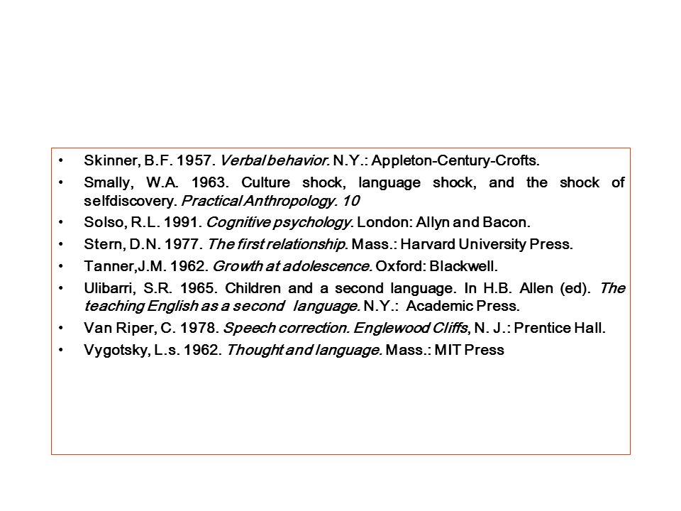 Skinner, B.F. 1957. Verbal behavior. N.Y.: Appleton-Century-Crofts.