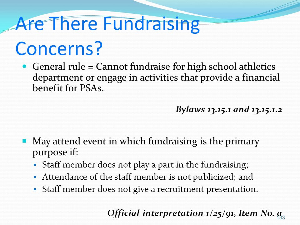 Are There Fundraising Concerns.