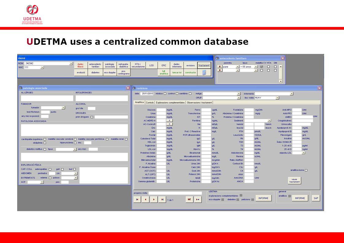 UDETMA uses a centralized common database