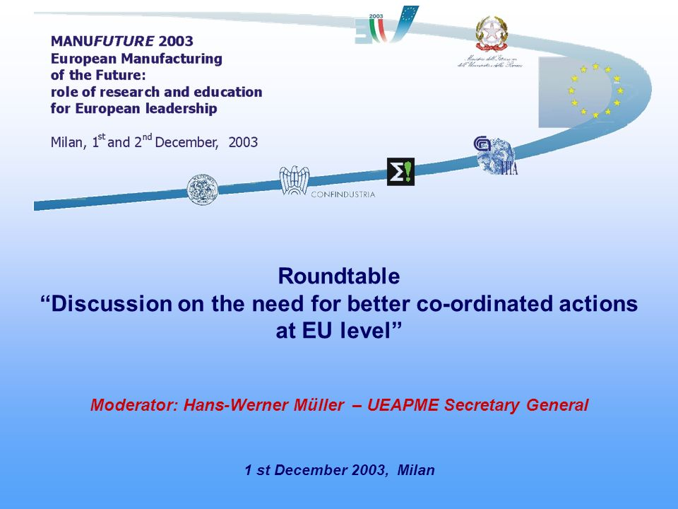1 st December 2003, Milan Roundtable Discussion on the need for better co-ordinated actions at EU level Moderator: Hans-Werner Müller – UEAPME Secretary General