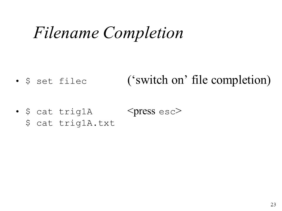 23 Filename Completion $ set filec (switch on file completion) $ cat trig1A $ cat trig1A.txt