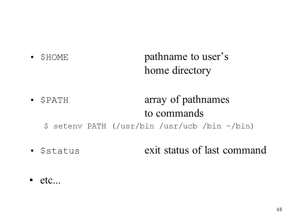 48 $HOME pathname to users home directory $PATH array of pathnames to commands $ setenv PATH (/usr/bin /usr/ucb /bin ~/bin) $status exit status of last command etc...