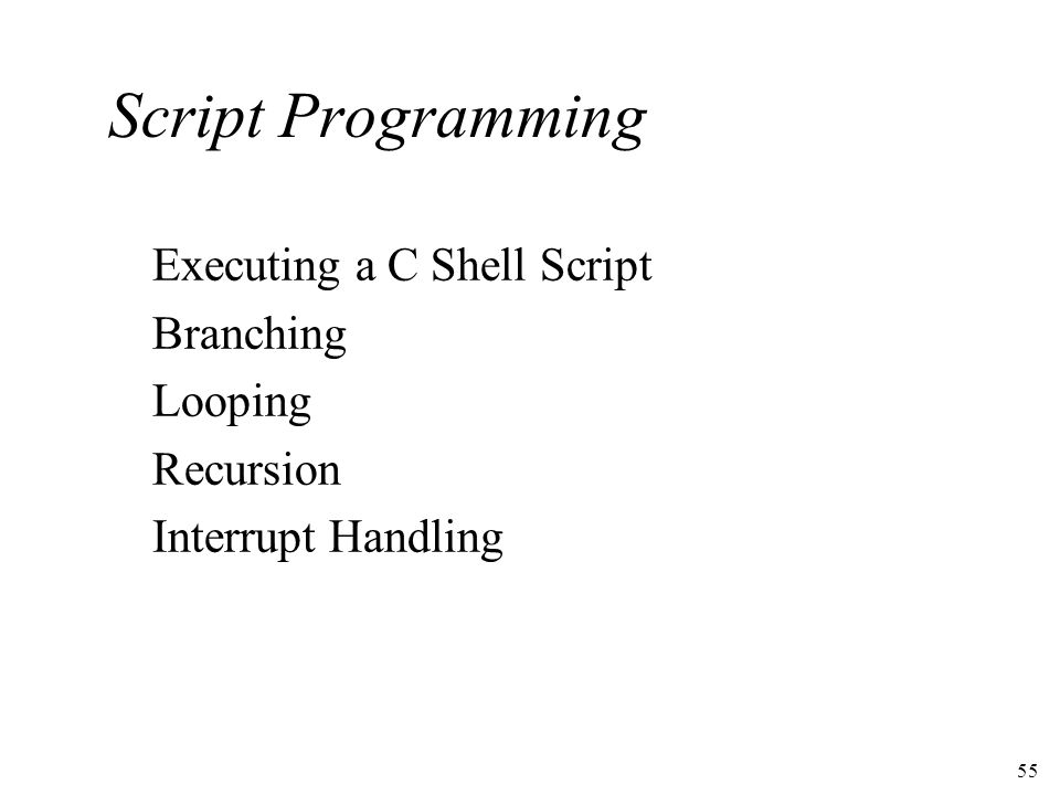55 Script Programming Executing a C Shell Script Branching Looping Recursion Interrupt Handling