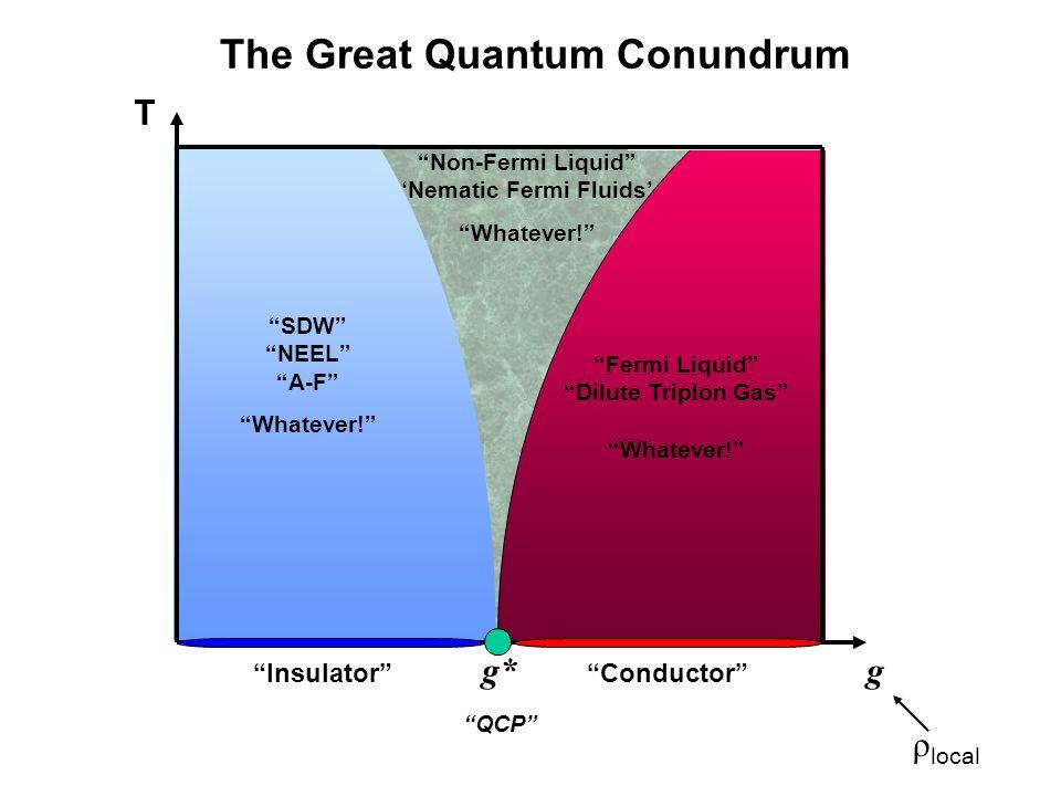Non-Fermi Liquid Nematic Fermi Fluids Whatever! Fermi Liquid Dilute Triplon Gas Whatever! SDW NEEL A-F Whatever! T g g* QCP InsulatorConductor ρ local