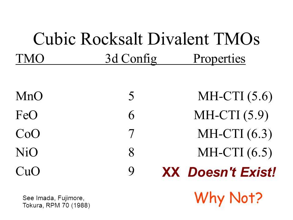 Cubic Rocksalt Divalent TMOs TMO3d Config Properties MnO 5 MH-CTI (5.6) FeO6 MH-CTI (5.9) CoO7 MH-CTI (6.3) NiO8 MH-CTI (6.5) CuO9 XX Doesn't Exist! S