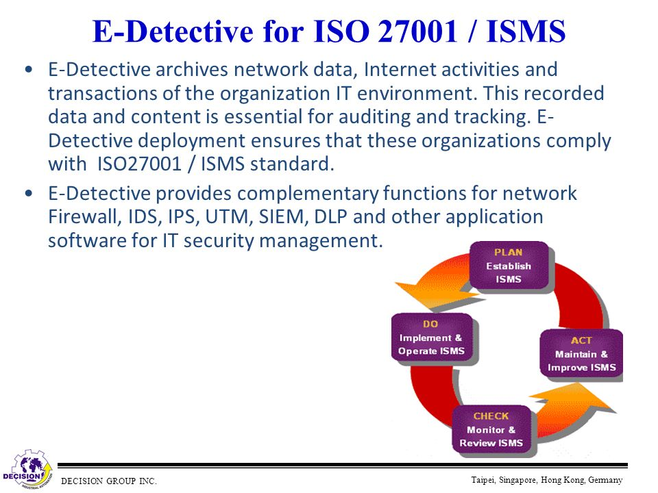 DECISION GROUP INC. Taipei, Singapore, Hong Kong, Germany E-Detective for ISO 27001 / ISMS E-Detective archives network data, Internet activities and