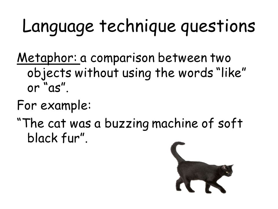 Language technique questions Metaphor: a comparison between two objects without using the words like or as. For example: The cat was a buzzing machine