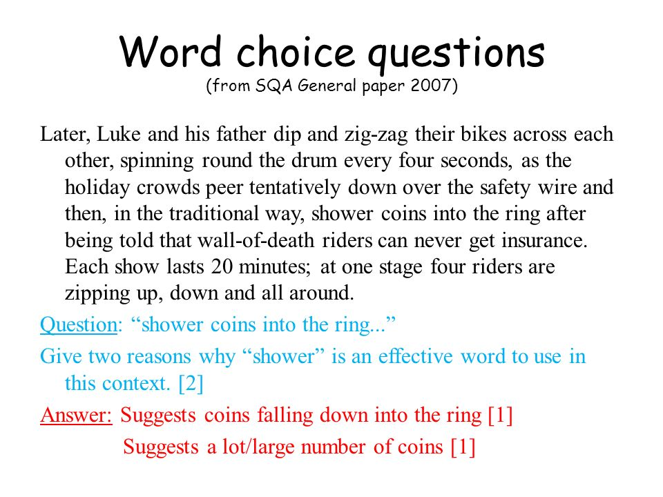 Language technique questions (from P&N General paper 2004-2005) As they waited, Joy let her eyes run idly over the house.