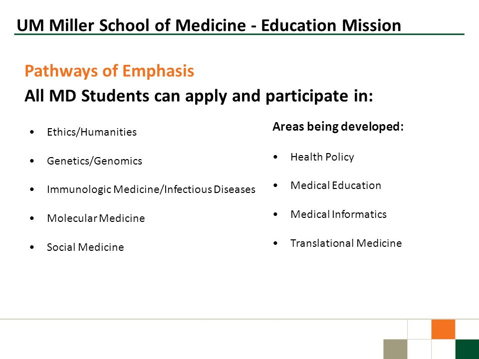 UM Miller School of Medicine - Education Mission Pathways of Emphasis All MD Students can apply and participate in: Ethics/Humanities Genetics/Genomic