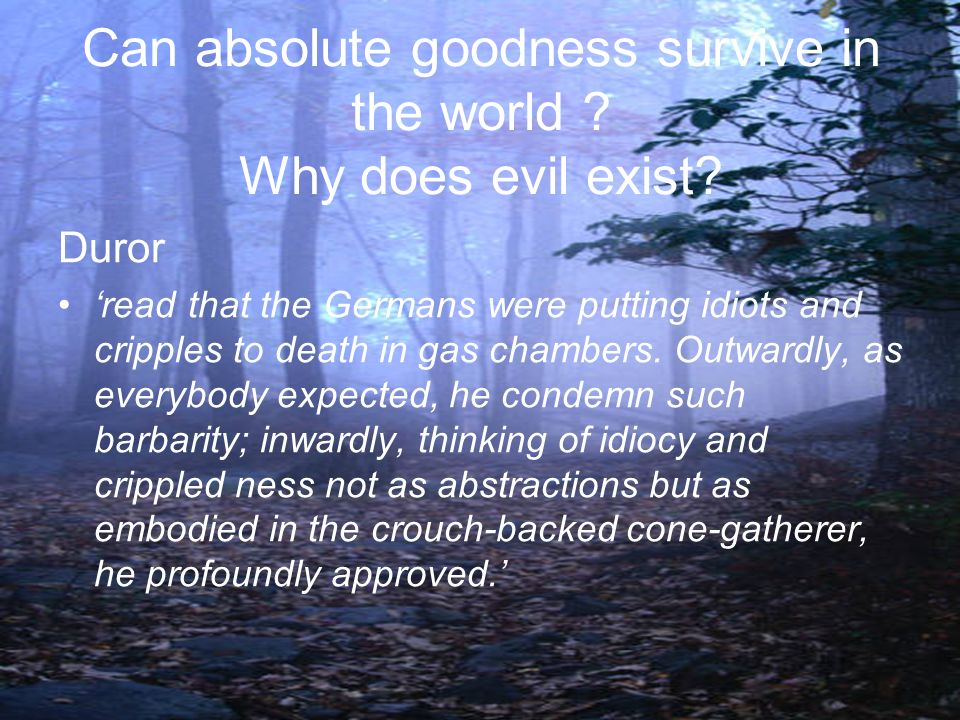Can absolute goodness survive in the world ? Why does evil exist? Duror read that the Germans were putting idiots and cripples to death in gas chamber