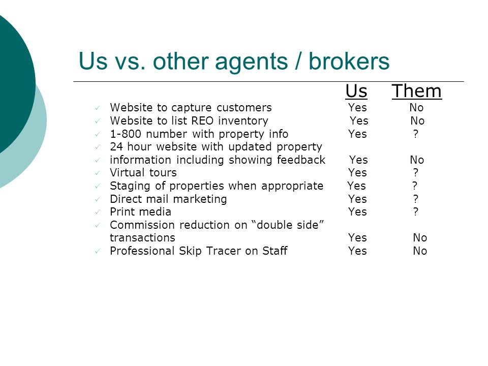 Us vs. other agents / brokers Us Them Website to capture customers Yes No Website to list REO inventory Yes No 1-800 number with property info Yes ? 2