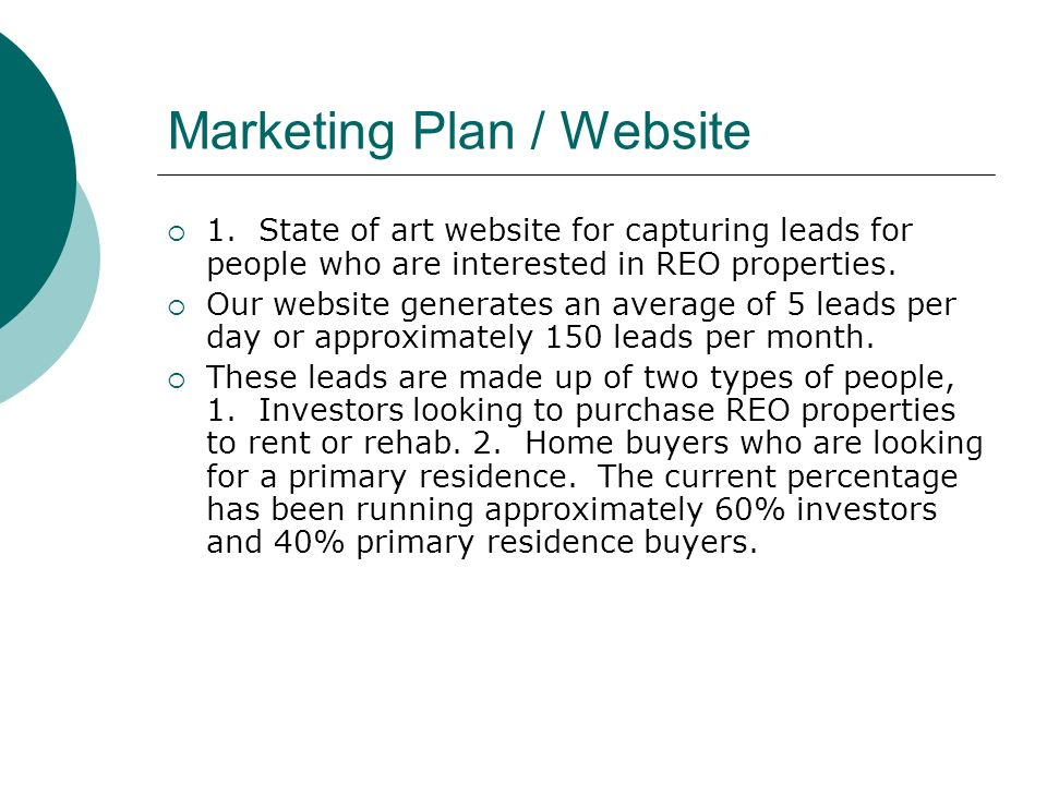 Marketing Plan / Website 1.