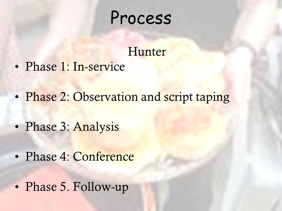 Process Hunter Phase 1: In-service Phase 2: Observation and script taping Phase 3: Analysis Phase 4: Conference Phase 5.