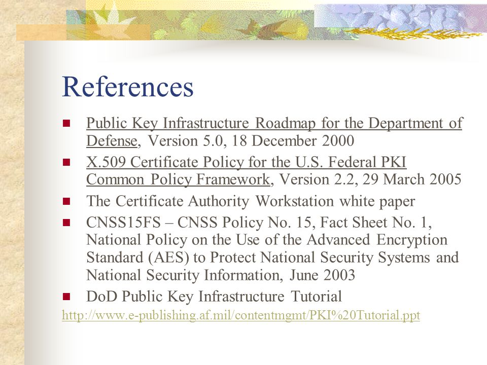 References Public Key Infrastructure Roadmap for the Department of Defense, Version 5.0, 18 December 2000 X.509 Certificate Policy for the U.S. Federa