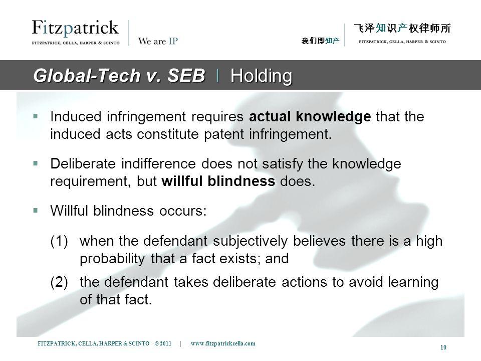 FITZPATRICK, CELLA, HARPER & SCINTO © 2011 | www.fitzpatrickcella.com 10 Global-Tech v. SEB ǀ Holding Induced infringement requires actual knowledge t