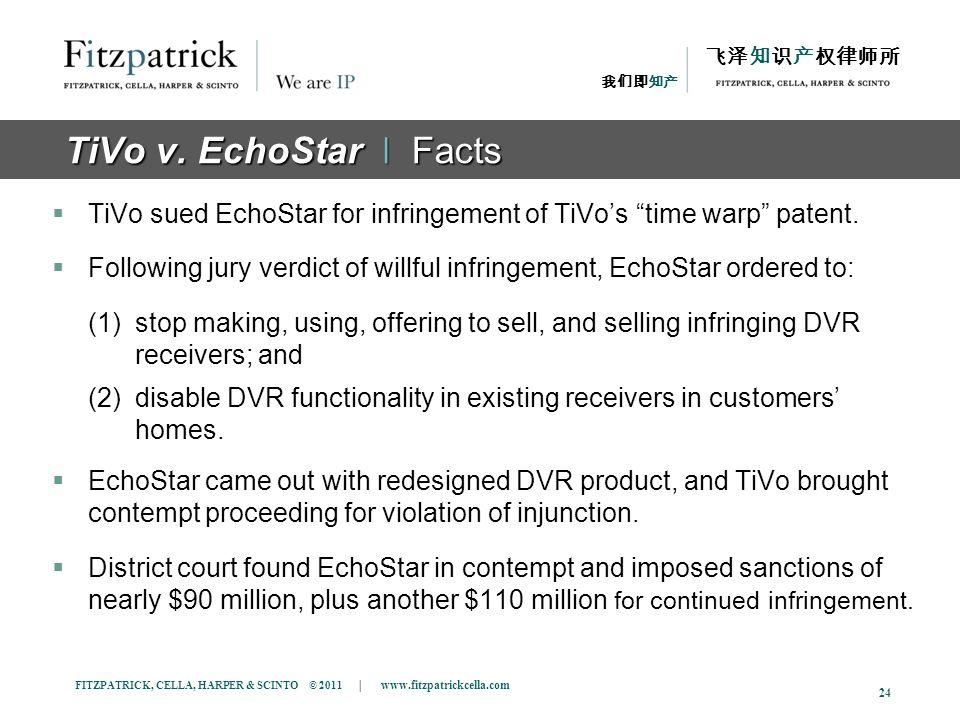 FITZPATRICK, CELLA, HARPER & SCINTO © 2011 | www.fitzpatrickcella.com 24 TiVo v. EchoStar ǀ Facts TiVo sued EchoStar for infringement of TiVos time wa
