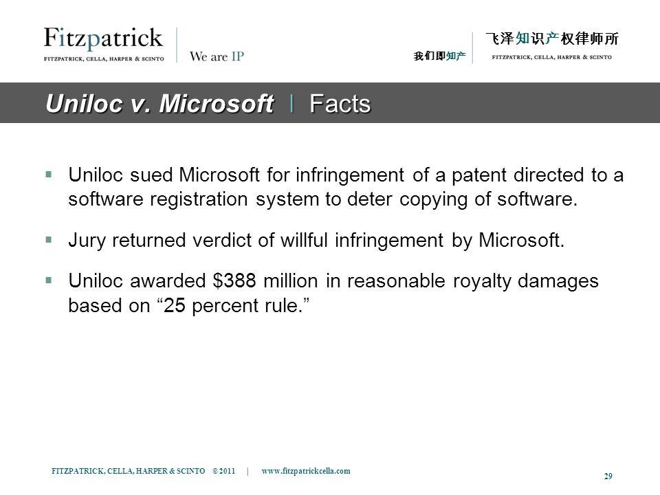 FITZPATRICK, CELLA, HARPER & SCINTO © 2011 | www.fitzpatrickcella.com 29 Uniloc v. Microsoft ǀ Facts Uniloc sued Microsoft for infringement of a paten