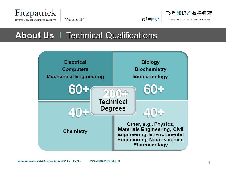 FITZPATRICK, CELLA, HARPER & SCINTO © 2011 | www.fitzpatrickcella.com 4 About Us ǀ Technical Qualifications