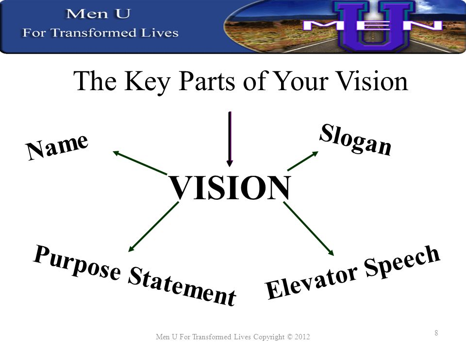 The Key Parts of Your Vision VISION Name Slogan Elevator Speech Purpose Statement Men U For Transformed Lives Copyright © 2012 8