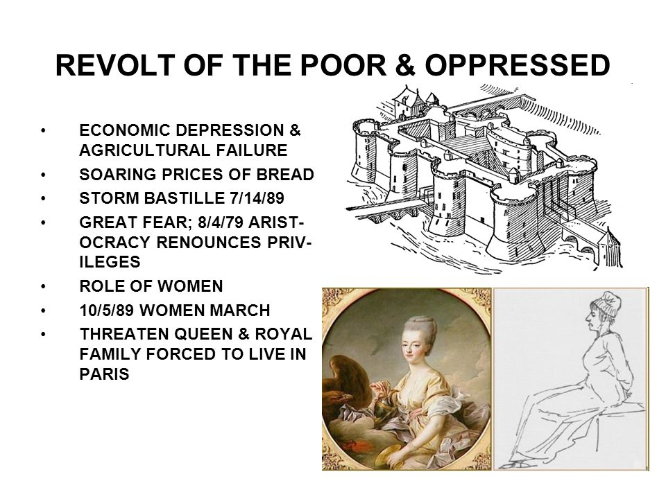 REVOLT OF THE POOR & OPPRESSED ECONOMIC DEPRESSION & AGRICULTURAL FAILURE SOARING PRICES OF BREAD STORM BASTILLE 7/14/89 GREAT FEAR; 8/4/79 ARIST- OCR