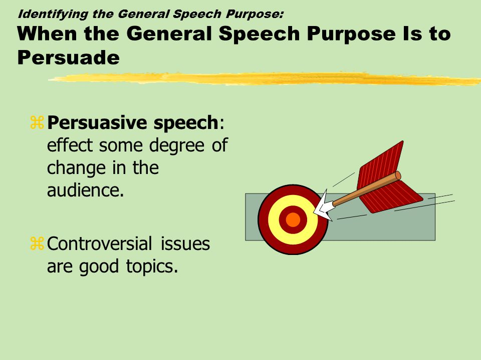 Identifying the General Speech Purpose: The Special Occasion Speech zSpecial occasion speech: prepared for a special occasion and for a purpose dictated by that occasion.