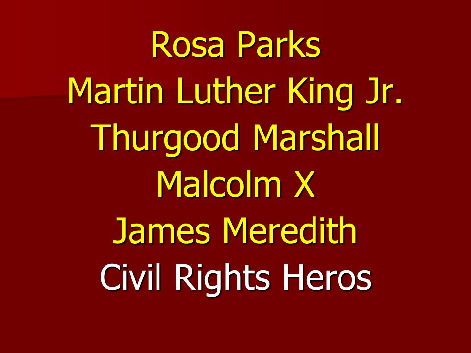 Rosa Parks Martin Luther King Jr. Thurgood Marshall Malcolm X James Meredith Civil Rights Heros