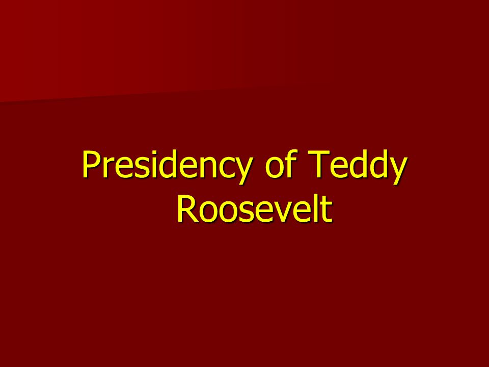 Presidency of Teddy Roosevelt