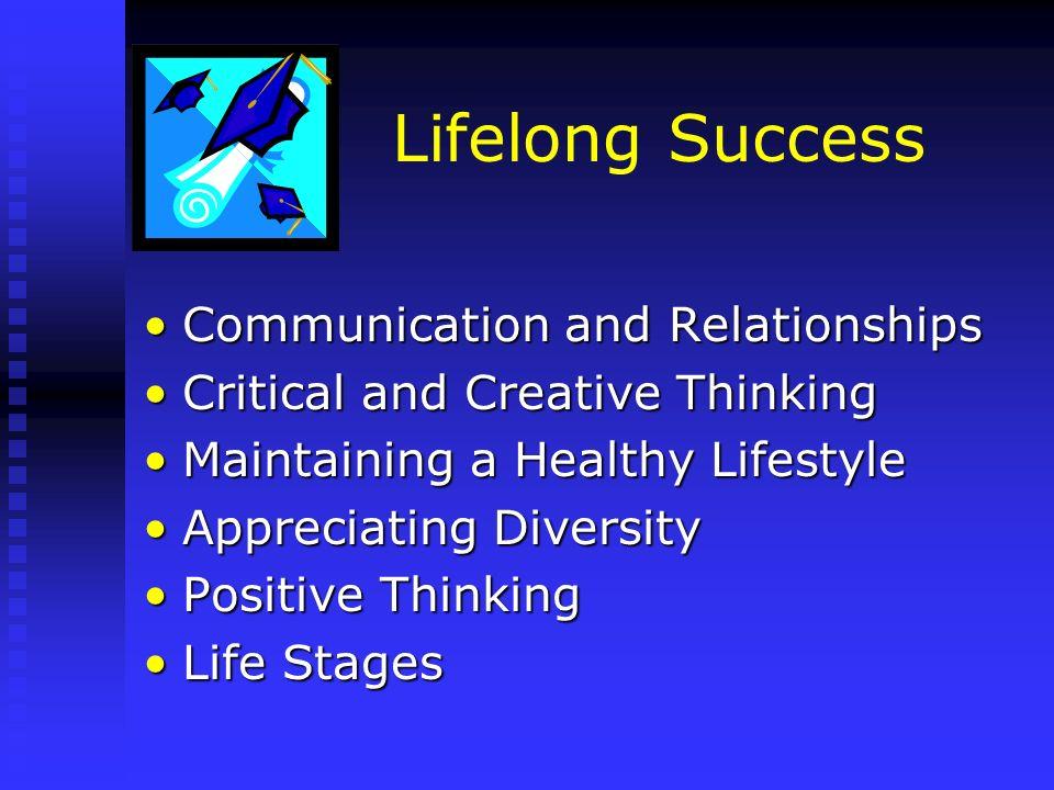 Lifelong Success Communication and RelationshipsCommunication and Relationships Critical and Creative ThinkingCritical and Creative Thinking Maintaini