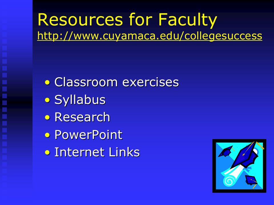 Resources for Faculty http://www.cuyamaca.edu/collegesuccess http://www.cuyamaca.edu/collegesuccess Classroom exercisesClassroom exercises SyllabusSyl