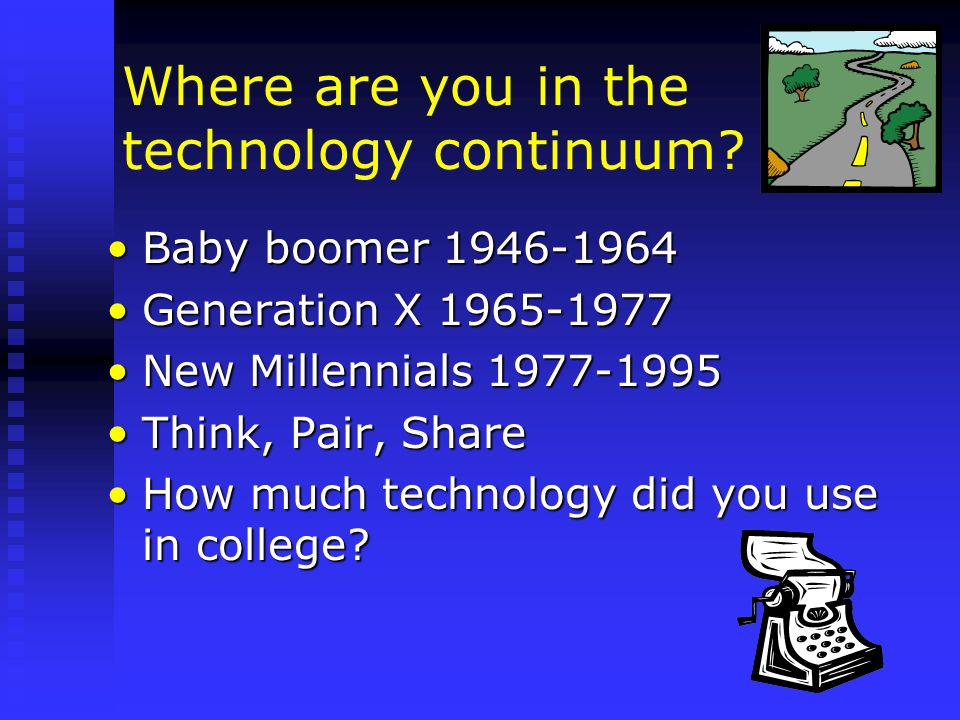 New Millennials Our current college studentsOur current college students Most were born with a computer in the home and were using them by age 5Most were born with a computer in the home and were using them by age 5 Cyber generationCyber generation The connected generationThe connected generation