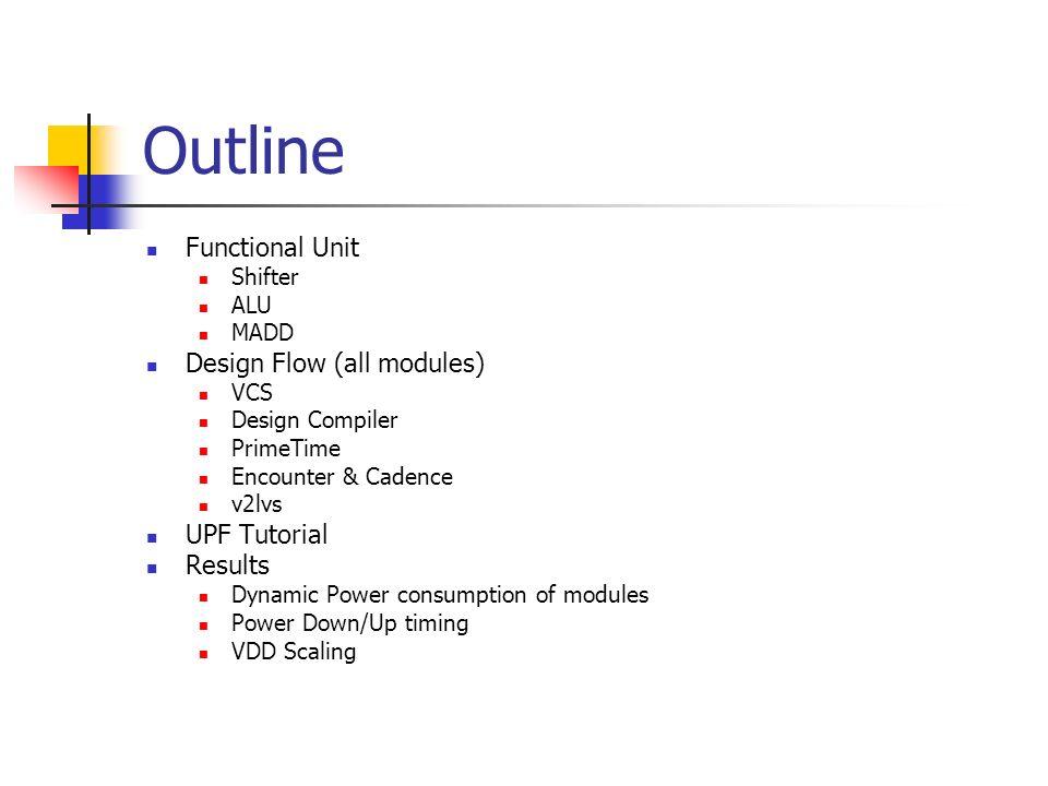 Outline Functional Unit Shifter ALU MADD Design Flow (all modules) VCS Design Compiler PrimeTime Encounter & Cadence v2lvs UPF Tutorial Results Dynami