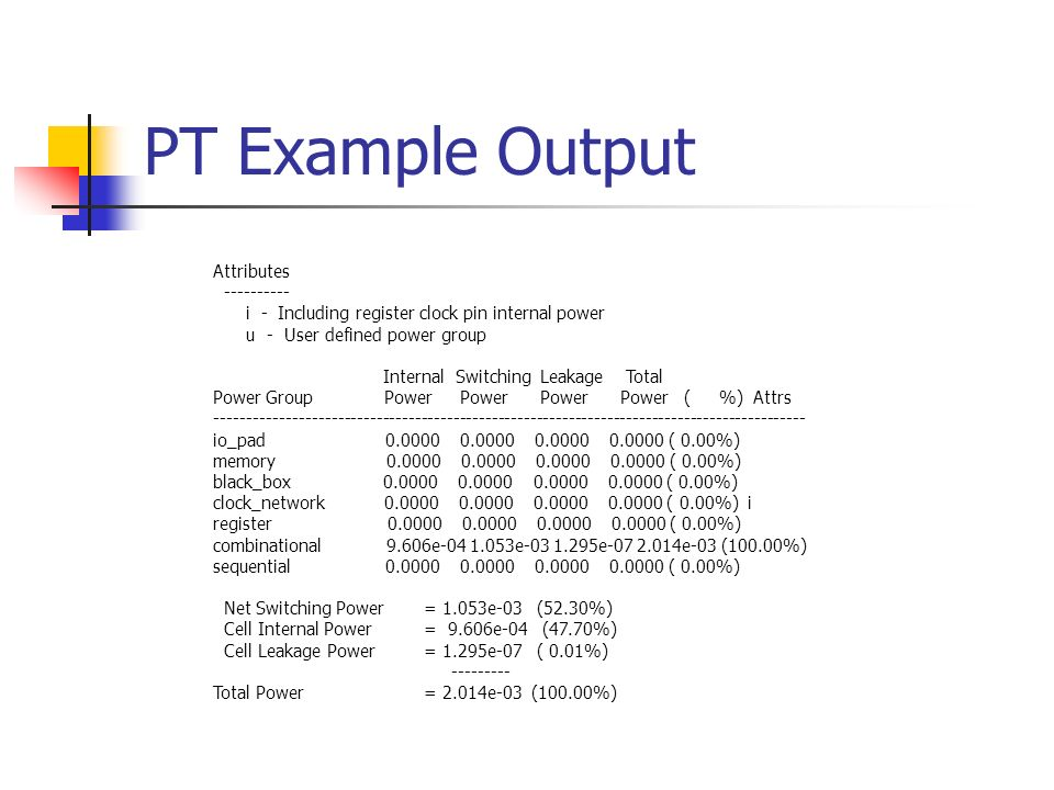 PT Example Output Attributes ---------- i - Including register clock pin internal power u - User defined power group Internal Switching Leakage Total