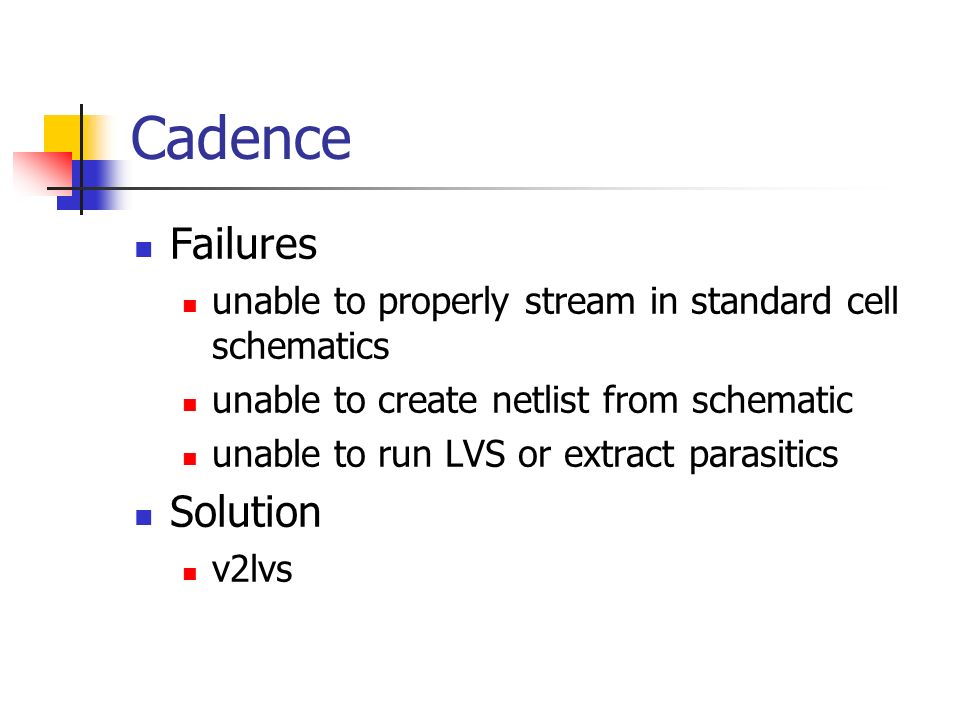 Cadence Failures unable to properly stream in standard cell schematics unable to create netlist from schematic unable to run LVS or extract parasitics