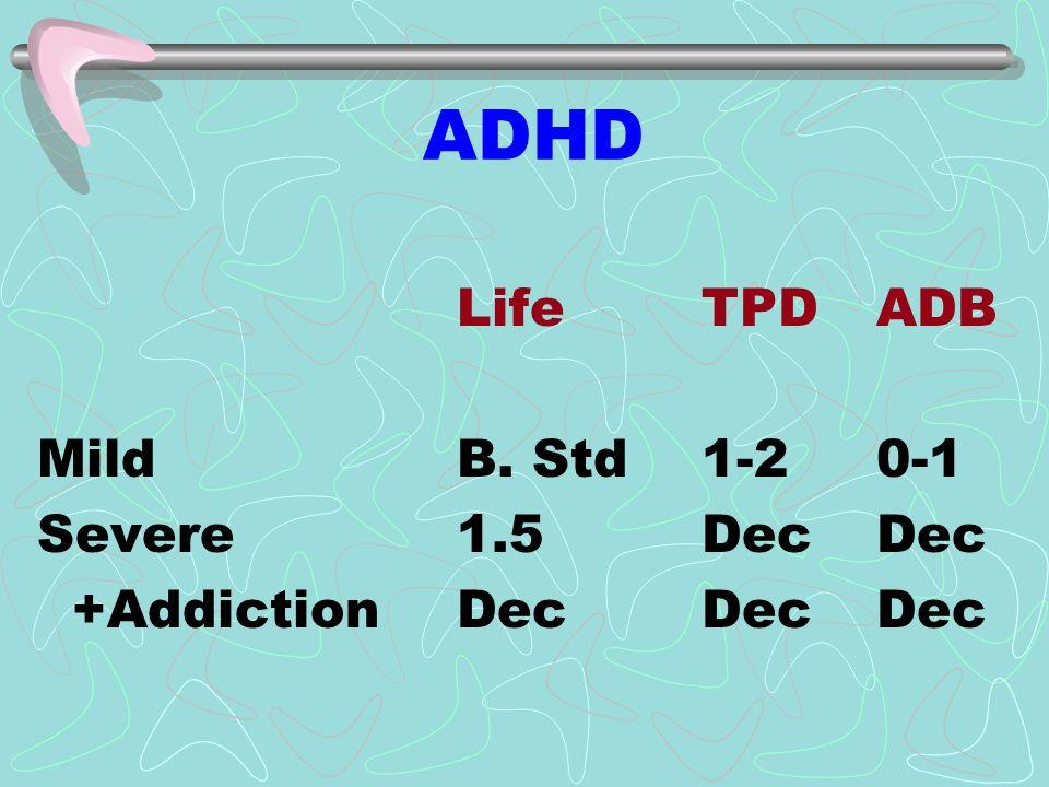 ADHD Life TPDADB MildB. Std 1-20-1 Severe1.5 DecDec +AddictionDec DecDec