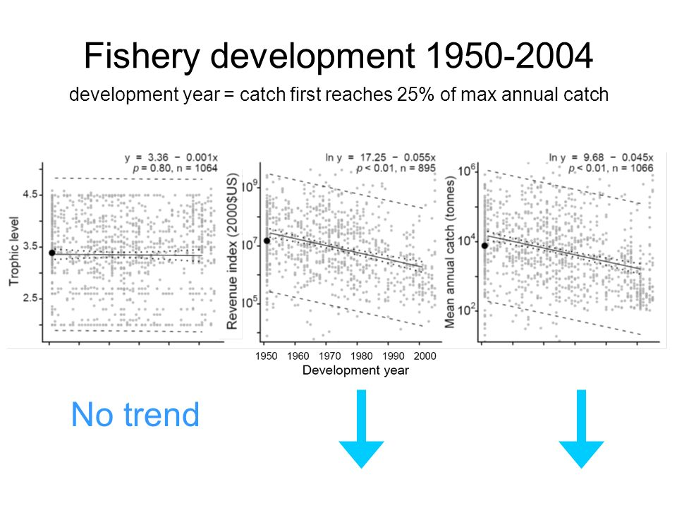 development year = catch first reaches 25% of max annual catch Fishery development No trend