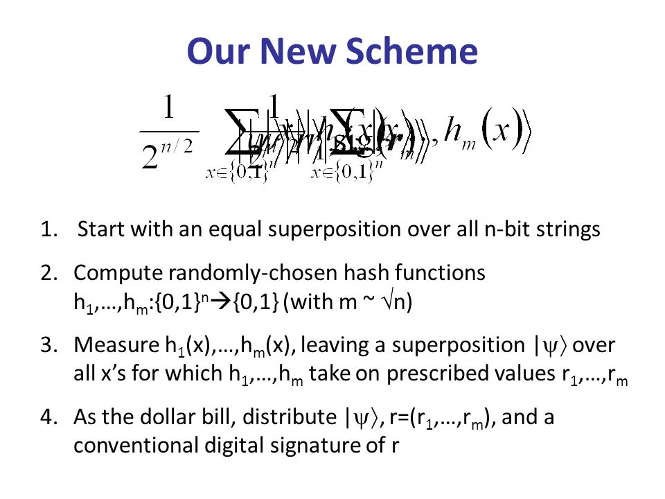 1.Start with an equal superposition over all n-bit strings 2.Compute randomly-chosen hash functions h 1,…,h m :{0,1} n {0,1} (with m ~ n) 3.Measure h 1 (x),…,h m (x), leaving a superposition | over all xs for which h 1,…,h m take on prescribed values r 1,…,r m 4.As the dollar bill, distribute |, r=(r 1,…,r m ), and a conventional digital signature of r Our New Scheme