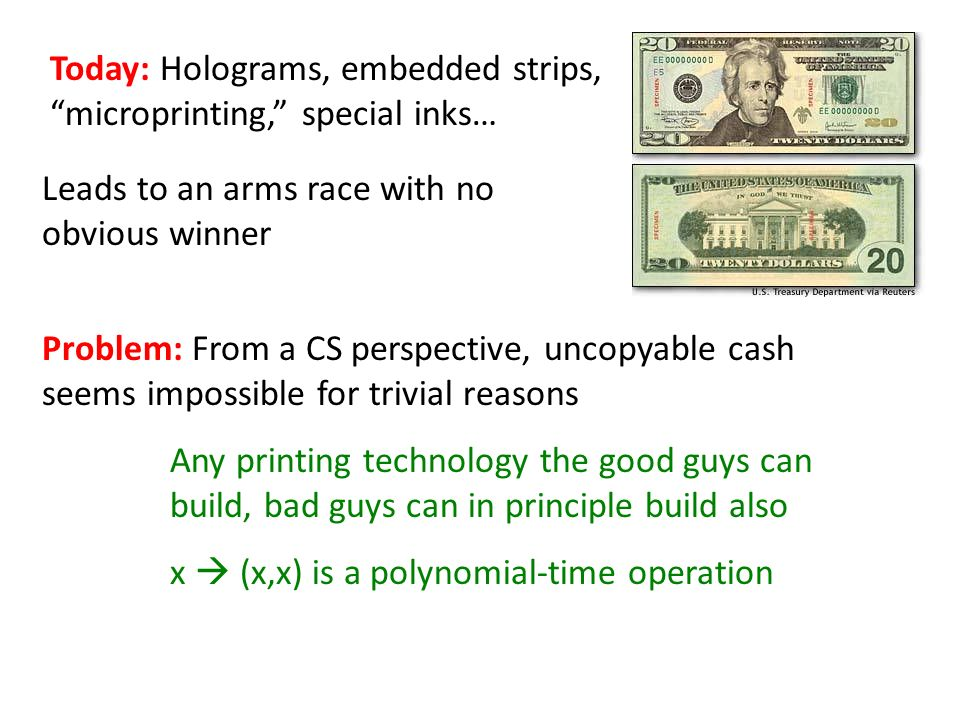 Leads to an arms race with no obvious winner Today: Holograms, embedded strips, microprinting, special inks… Problem: From a CS perspective, uncopyable cash seems impossible for trivial reasons Any printing technology the good guys can build, bad guys can in principle build also x (x,x) is a polynomial-time operation