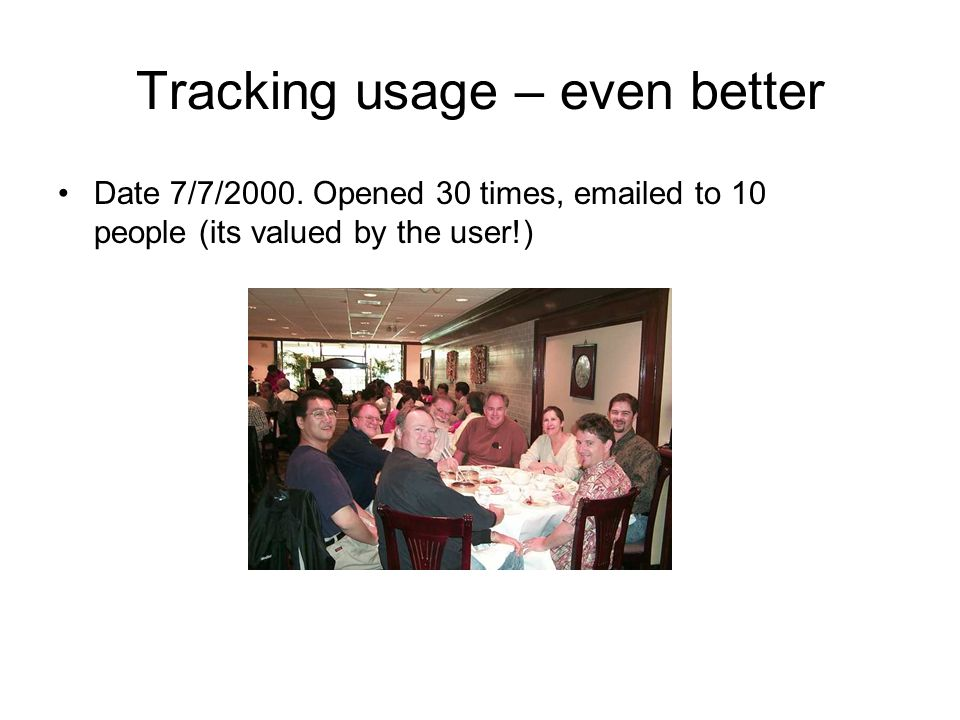 Tracking usage – even better Date 7/7/2000. Opened 30 times, emailed to 10 people (its valued by the user!)