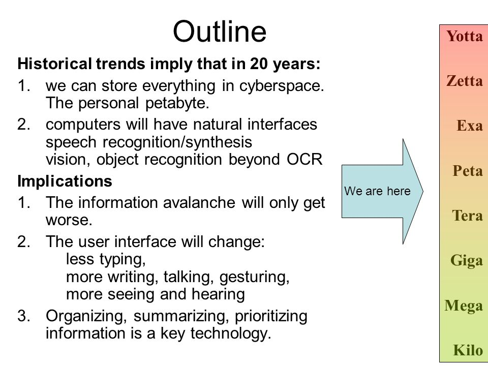Outline Historical trends imply that in 20 years: 1.we can store everything in cyberspace. The personal petabyte. 2.computers will have natural interf