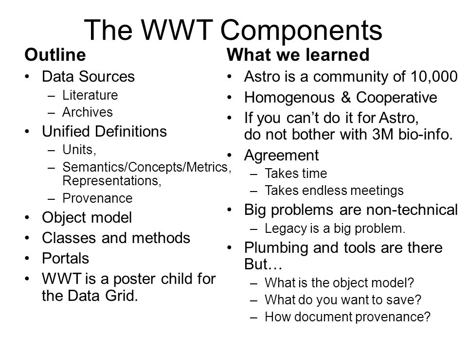 The WWT Components Outline Data Sources –Literature –Archives Unified Definitions –Units, –Semantics/Concepts/Metrics, Representations, –Provenance Ob