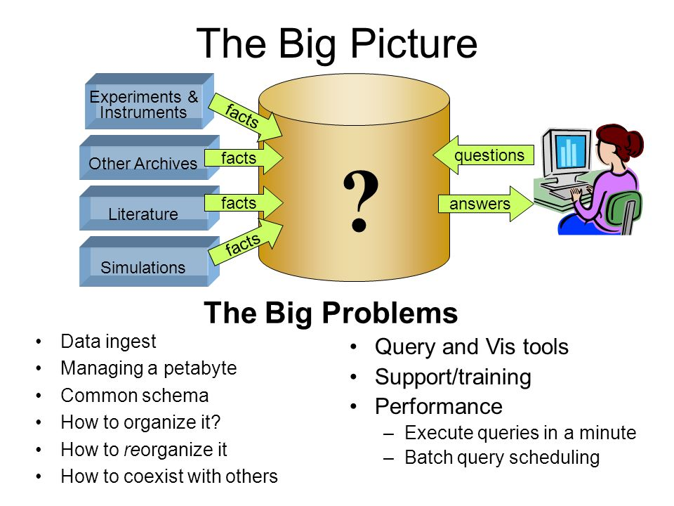 The Big Picture Experiments & Instruments Simulations facts answers questions Data ingest Managing a petabyte Common schema How to organize it? How to