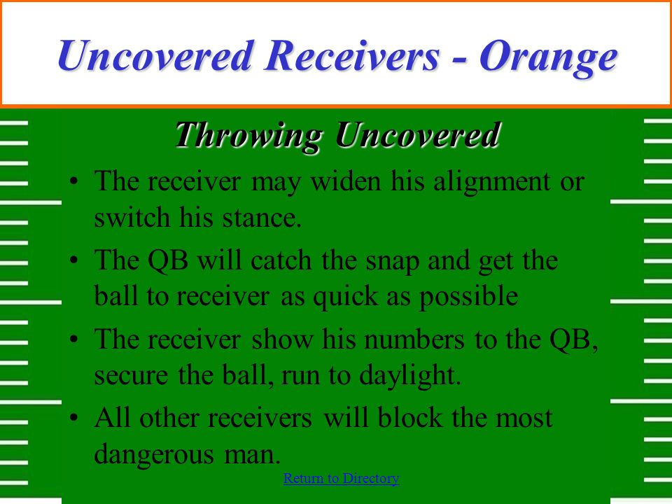 Return to Directory Uncovered Receivers - Orange Throwing Uncovered The receiver may widen his alignment or switch his stance. The QB will catch the s