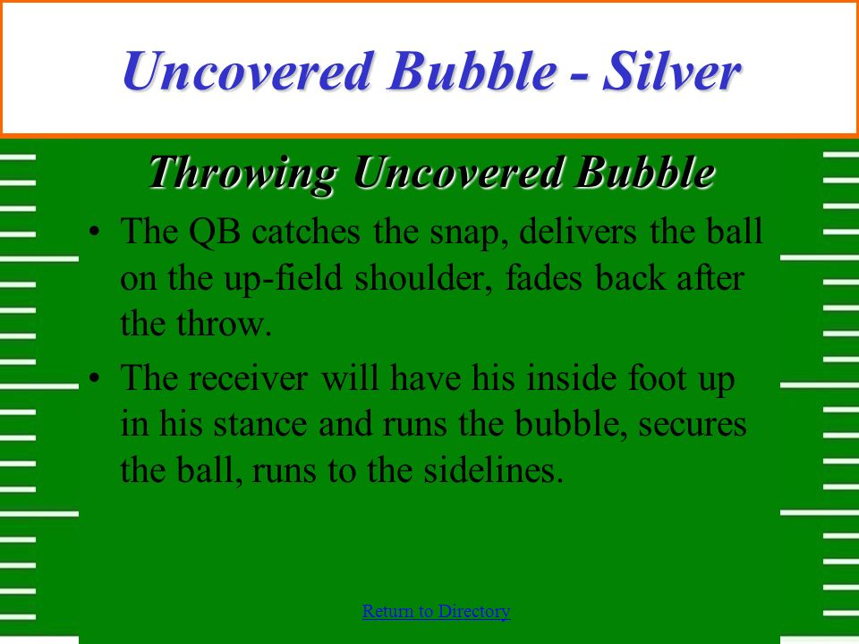 Return to Directory Uncovered Bubble - Silver Throwing Uncovered Bubble The QB catches the snap, delivers the ball on the up-field shoulder, fades bac
