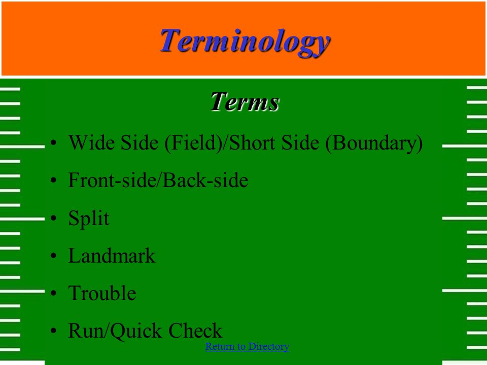 Return to DirectoryTerminology Terms Wide Side (Field)/Short Side (Boundary) Front-side/Back-side Split Landmark Trouble Run/Quick Check