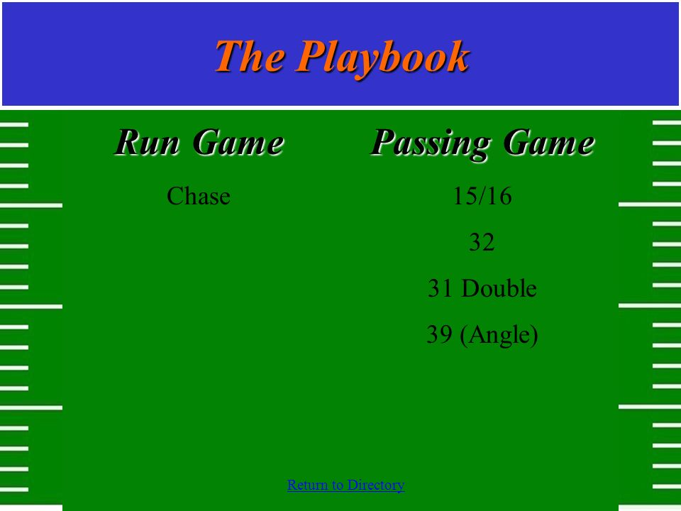 Return to Directory The Playbook Run Game Chase Passing Game 15/16 32 31 Double 39 (Angle)