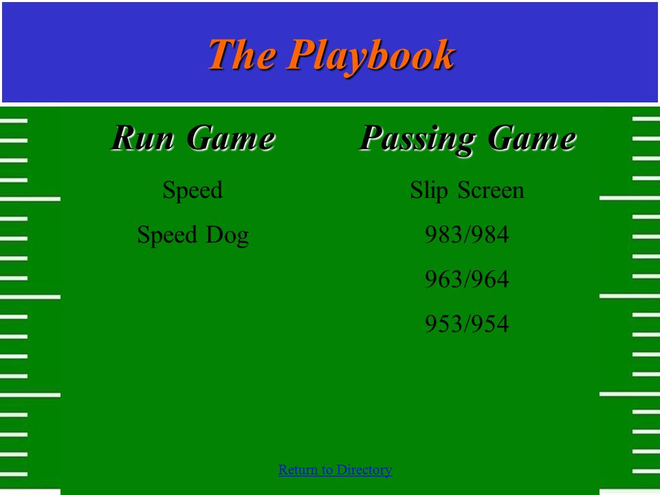 Return to Directory The Playbook Run Game Speed Speed Dog Passing Game Slip Screen 983/984 963/964 953/954